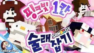 블록 1칸짜리 핑크빛 집에 나타난 공주 살인마..!! [마인크래프트 컨텐츠: 1칸 블럭 술래잡기] - Micro Block Hide&Seek - [잠뜰]