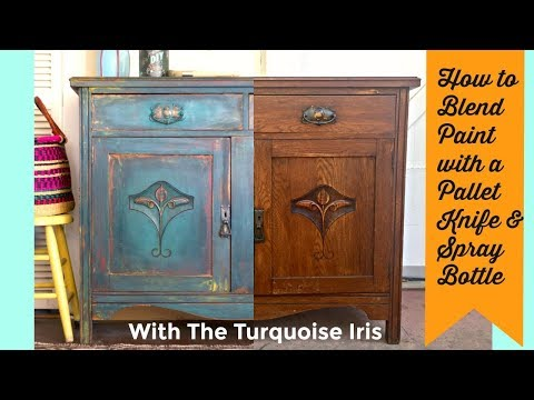 How to Paint and layer Furniture with a pallet knife and water with Dionne from The Turquoise Iris