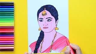 How to draw Anushka Shetty as Devsena [Bahubali movie]