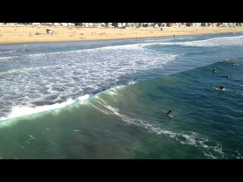 Surfing on Santa Monica Beach - November 25, 2014