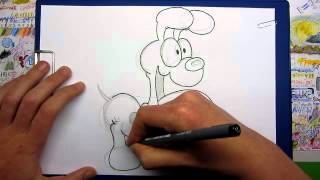 Inking Odie from the Garfield cartoon series