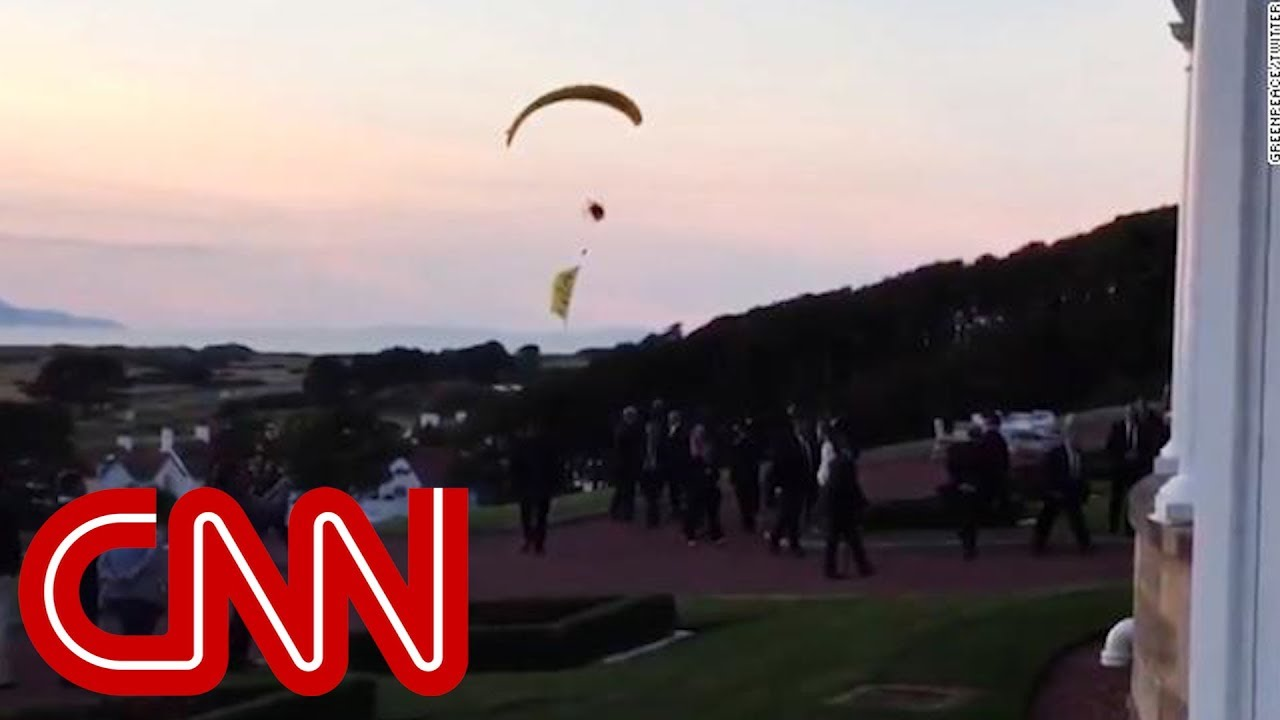 Trump protester breaches security airspace - YouTube