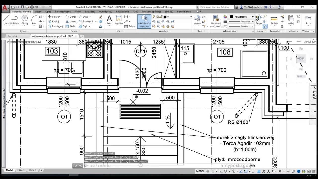 Wstawianie i skalowanie podkładu pdf autocad 2017
