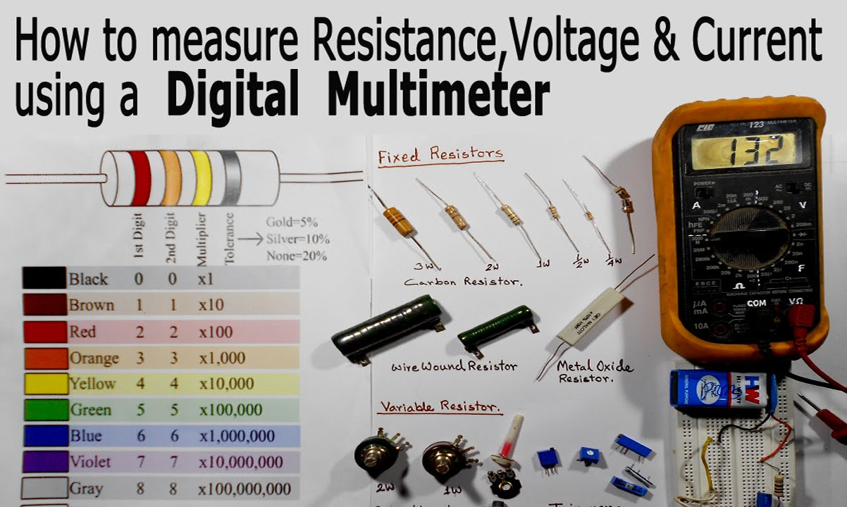 How To Use A Multimeter For Beginners Measure Voltage Electronic Multimeters Resistance And Current Youtube