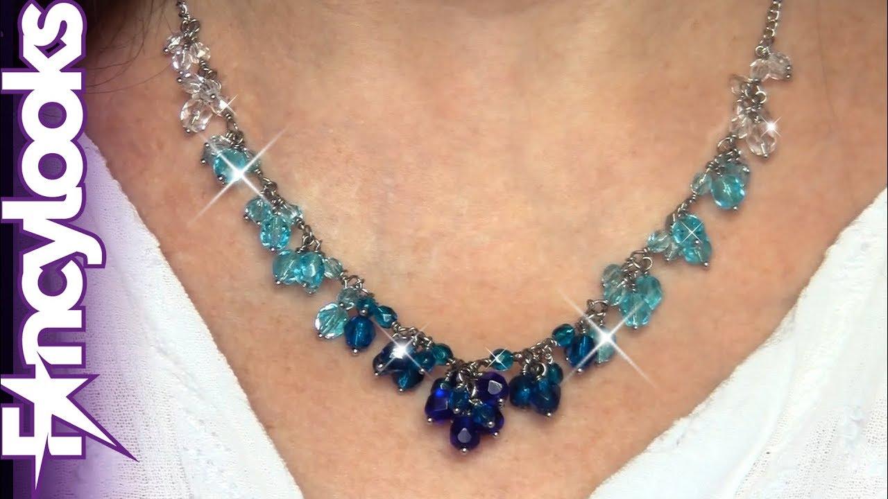 8f182121ffa4 HERMOSO - Cómo hacer Collar Aqua anillando cristal checo - YouTube