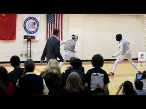 Pre-Olympic foil fencing exhibition bout - Alexander Massialas, U.S. vs Lei Sheng, China
