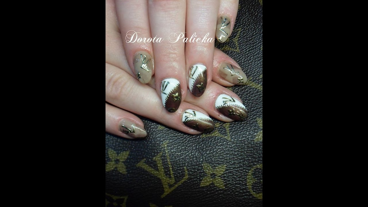 Louis Vuitton embossed gold foildesign nails sculpted foil design ...