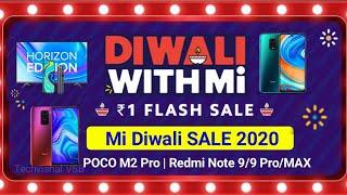 Xiaomi Diwali With Mi SALE 2020 | ₹ 1 Flash Sale | Buy Redmi Note 9 Pro, Mi TV, Band 5 Only Rs. 1