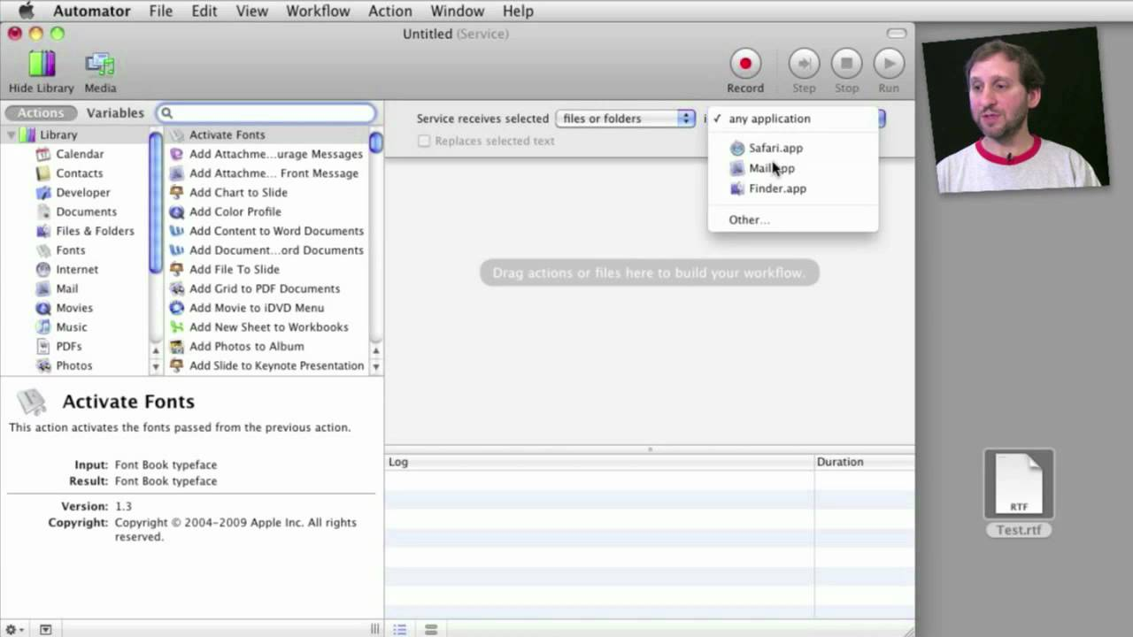 How to Create scripts and services with the Mac OS X