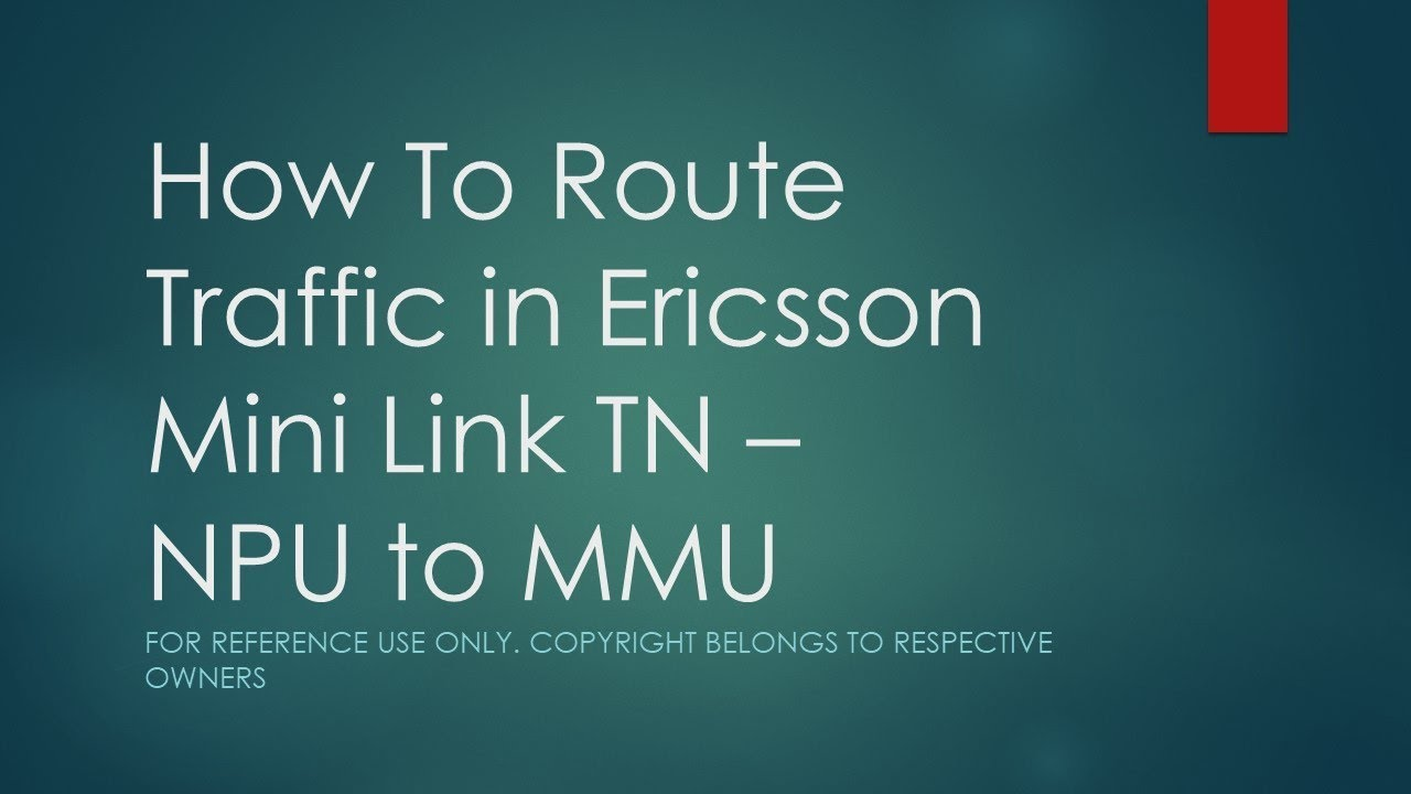 How to route traffic in ericsson mini link tn from npu to mmu using ericsson mini link craft youtube