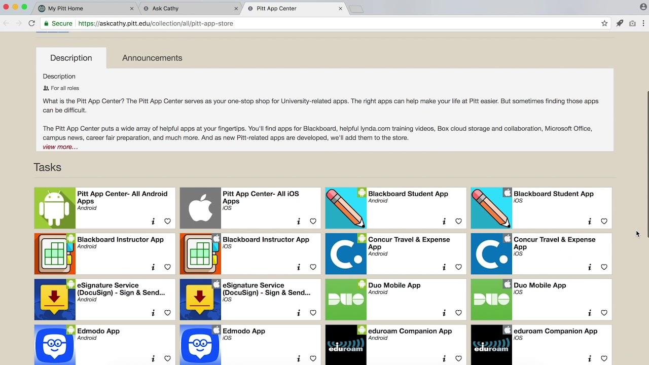 The Pitt App Center | Information Technology | University of