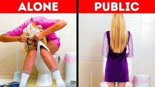 ALONE vs PUBLIC || Badass Hacks and Gadgets for SMART GIRLS by 5-Minute Crafts LIKE