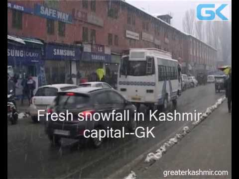 Fresh snowfall in Kashmir capital