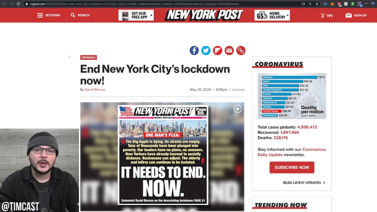 New York City is DYING, The NY Post SAVAGES Cuomo And De Blasio For Having No Plan And Hurting NYC