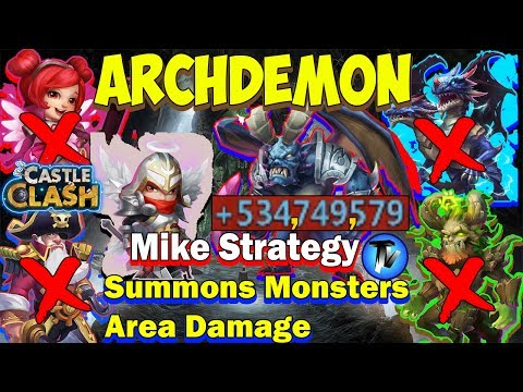 Castle Clash - Archdemon Area DMG | Mike Strategy | Without Tree, Demo, HB, DD