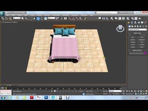 Autodesk 3dsmax 2012 Tutorial Bed Pillows Blanket Modeling with cloth &Texturing