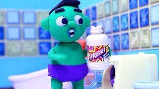 Washing machine 💕 Superhero Play Doh Stop motion cartoons