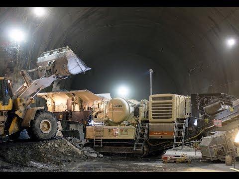 Split Lokotrack crushes rocks deep down in the Semmering Base Tunnel, Austria