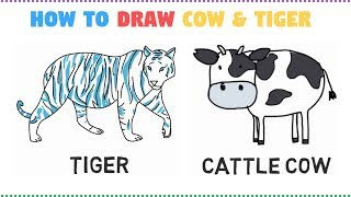 Learn Tiger And Cattle Cow Drawing and Coloring - How To Draw Colors for Kids Learning Videos