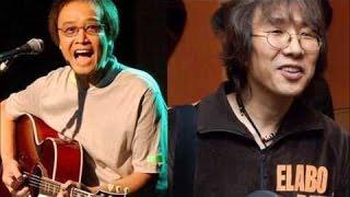 「LOVE LOVE あいしてる」の頃のKinkiKidsを振り返る吉田拓郎。 不真面目なおじさん達が馬鹿なことをしているところから、手元やギターを見たりして.