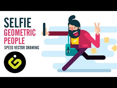 Speed Drawing, How to draw Flat Character, Selfie, Adobe Illustrator Tutorial