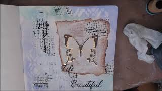 Life is Beautiful Art Journal Page White Rose Crafts DT
