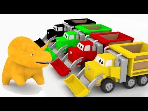 Apprendre les couleurs avec Dino & les trains, camion benne, camion poubelle   dessin animé éducatif