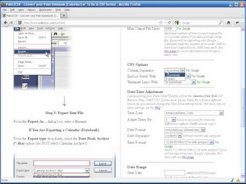 Palm2CSV / Palm2iCal - Convert your Palm Datebook (Calendar) or To
