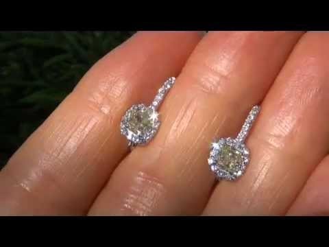 Untreated Vvs2 Fancy Yellow Diamond Solid 18k Gold Earrings Virtually Flawless