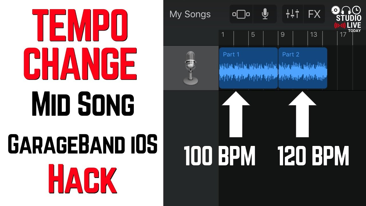 GarageBand tempo change mid song hack in iOS (iPhone/iPad)