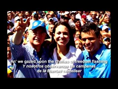 Chimes of Freedom -Bob Dylan & Joan Baez-SOS Venezuela-Lyrics (Letra)