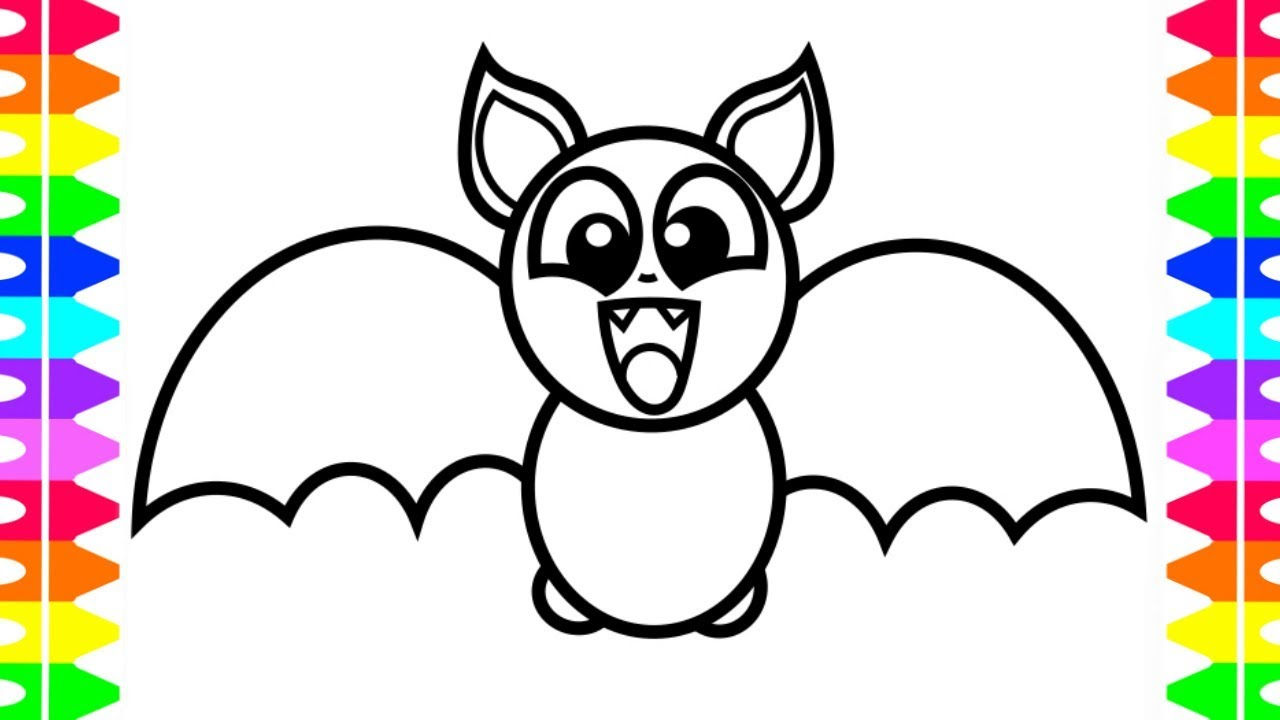 HAPPY HALLOWEEN COLORING Learning How To Draw A Baby Bat Coloring Book For Kids