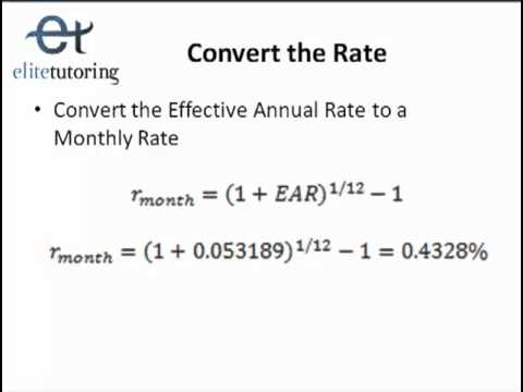 Mortgage Refinance Problem and Convert Effective Annual Rate
