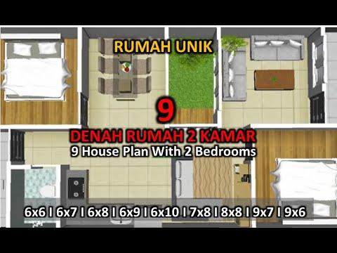 9 Denah Rumah Minimalis 2 Kamar Tidur 9 House Plan With 2