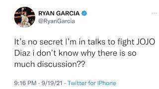 Ryan Garcia Confirms hę is in talks to fight Jojo diaz
