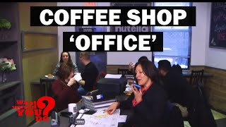 Woman Uses Coffee Shop Her