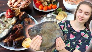Готовлю АКУЛУ на мангале, КАМБАЛА в соли и БЕЛЫЙ АМУР в японском соусе