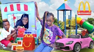 McDonalds Drive Thru Prank! Power Wheels Ride On Car Kids Fun Pretend Play Food