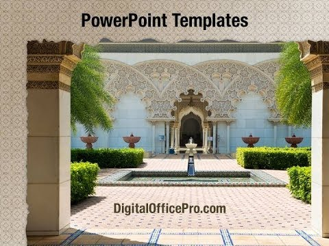moroccan architecture powerpoint template backgrounds, Powerpoint templates