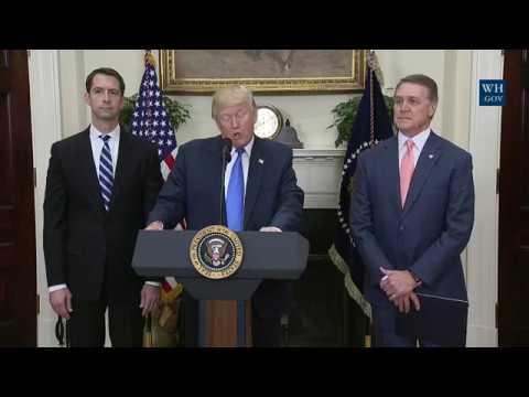 President Trump Makes an Announcement with Senator Tom Cotton and Senator David Perdue