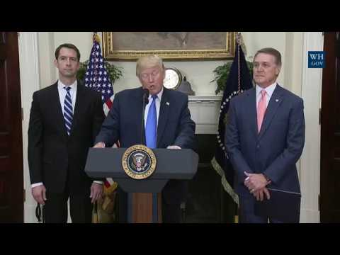 President Trump Makes an Announcement with Senator Tom Cotton and Senator David Perdue