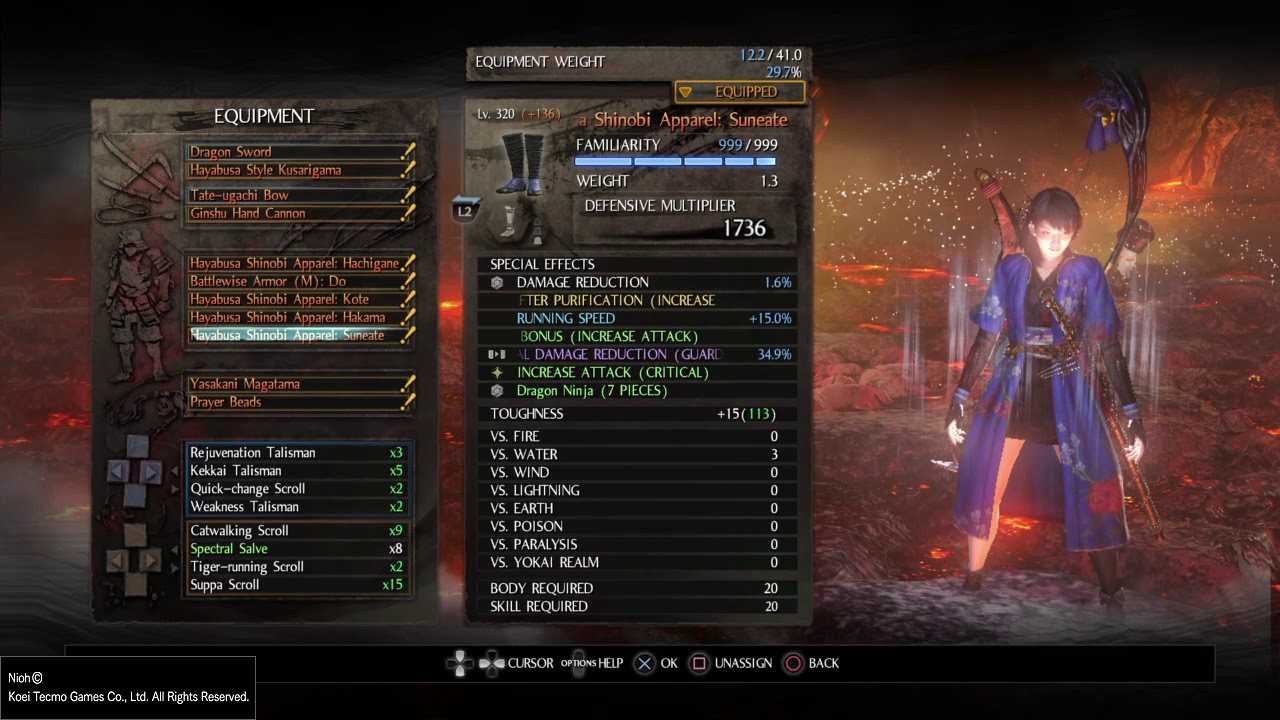 Nioh My Hayabusa Dragon Ninja Build At Floor 999 Abyss Youtube It has all the vital skills that every class should have: youtube