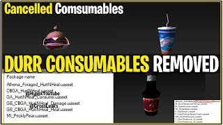 *NEW* Fortnite: DURR CONSUMABLES CANCELLED/REPLACED! *Burger,shake, and More*   (Hurt N Heal)