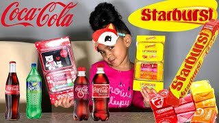 SODA VS. CANDY CHAPSTICK CHALLENGE!!! COCA COLA vs. STARBURST