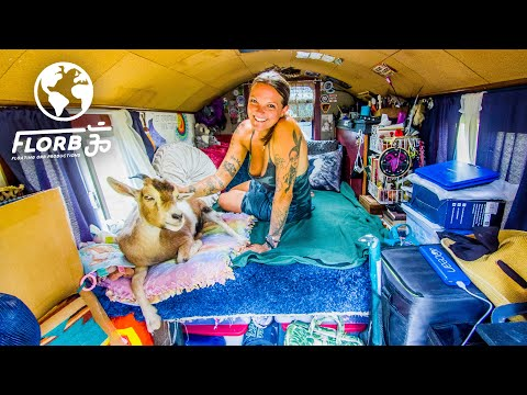 Solo Female Traveler Lives in Tiny Wagon w/ Goat