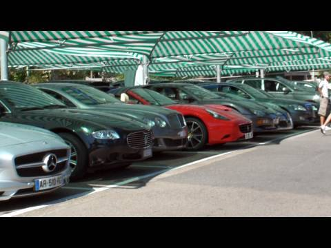 Supercar Car Park in Monaco - Veyron, 458 x2, SLS x2, R8 Spyder, California x2, F430 and more!