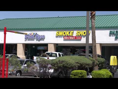 Mini Cooper and video of small Strip Mall on W. Sahara Avenue, Las Vegas, NV