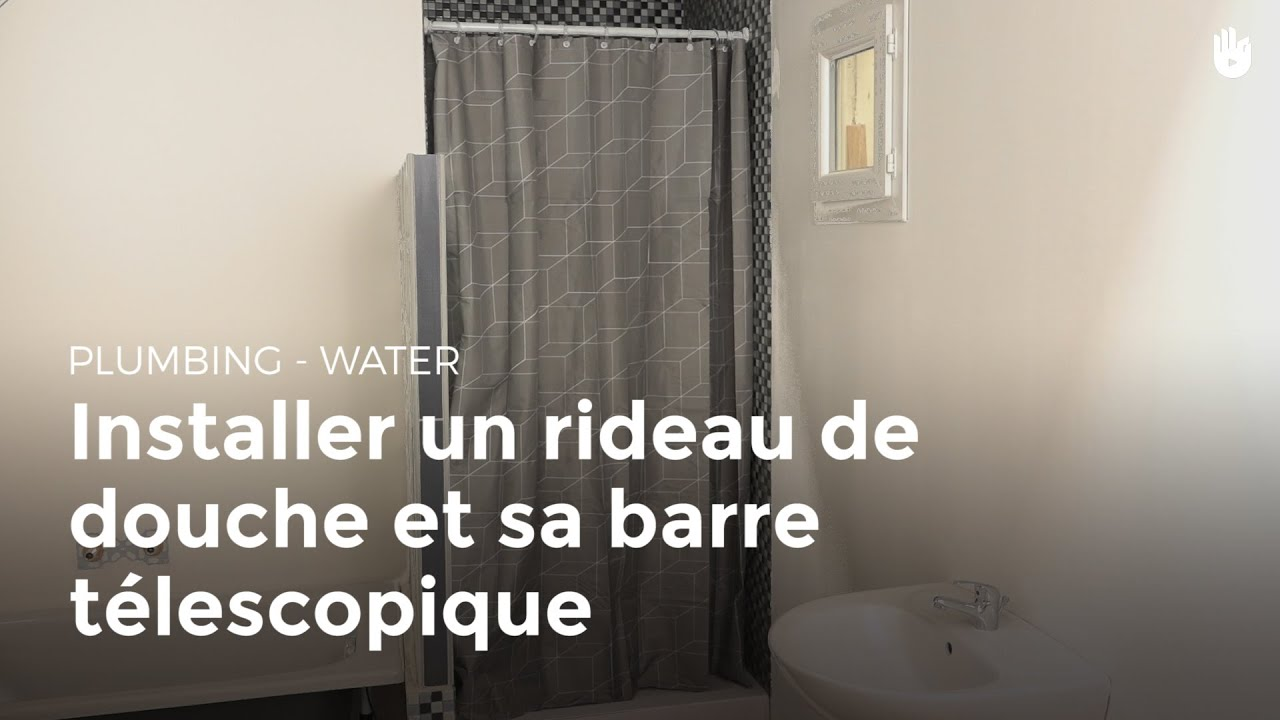 installer un rideau de douche et sa barre t lescopique bricolage youtube. Black Bedroom Furniture Sets. Home Design Ideas