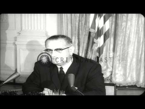 President Lyndon B. Johnson signs the Civil Rights Bill at the White House in Was...HD Stock Footage