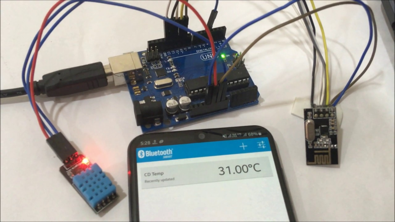 Sending Sensor Data to Android Phone using Arduino and NRF24L01 over  Bluetooth (BLE)
